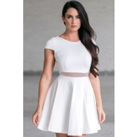 Separate Matters Mesh Waistband Dress in Off White