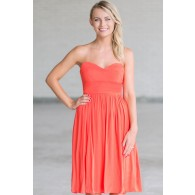 Rosalee Strapless Midi Dress in Orange Coral