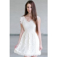Cream Lace A-Line Dress, Cute Cream Dress, Cream Bridal Shower Dress