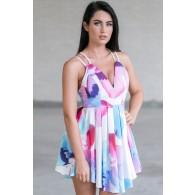 Cute Watercolor Paint Dress, Cute Party Dress, Bright Summer Dress