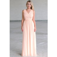 Peach Lace Maxi Dress Online, Cute Summer Dress, Peach Lace Bridesmaid Dress
