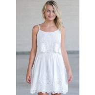 White Summer Dress, Cute White Dress, White Embroidered Dress