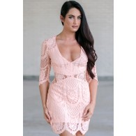 Cute Pink Lace Sheath Dress, Pink Lace Cocktail Dress, Pink Summer Dress Online