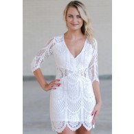 White Lace Sheath Dress, Cute White Lace Dress, White Summer Dress