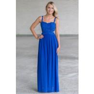 Bright Royal Blue Lace Maxi Dress, Juniors Boutique Maxi Online, Cute Summer Maxi