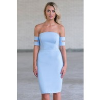 Pale Blue Off Shoulder Bodycon Dress, Sky Blue Cocktail Dress, Juniors Dress Online
