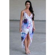 Blue Floral Print Wrap High Low Dress Online, Cute Summer Juniors Dress, Watercolor Party Dress
