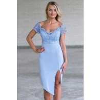 Periwinkle Lace Cocktail Dress, Cute Online Boutique Juniors Dress, Blue Party Dress