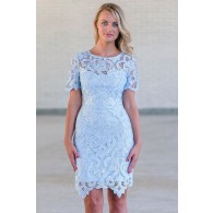 Cute Sky Blue Lace Dress Online, Juniors Pale Blue Lace Dress, Boutique Bridesmaid Dress