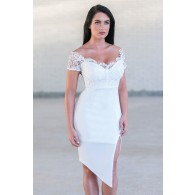White Lace Pencil Dress Online, Cute White Juniors Boutique Dress, White Cocktail Dress