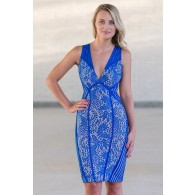 Blue Lace Bodycon Dress, Cute Blue Lace Dress Online, Blue Juniors Boutique Dress