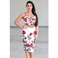 Red and White Rose Print Two Piece Outfit, Cute Rose Print Dress