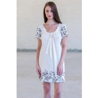 Cream and Black Embroidered Babydoll Dress, Cute Juniors Dress Online