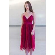 Burgundy Asymmetrical Flutter Party Dress