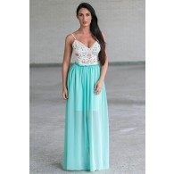 Mint Embroidered Open Back Maxi Dress, Cute Juniors Summer Dress