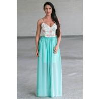 Mint Embroidered Open Back Maxi Dress, Cute Juniors Summer Dress