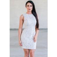 Blue Pale Blue Lace Sheath Dress, Cute Online Boutique Summer Dress