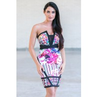 Abstract Masterpiece Strapless Bodycon Dress in Black/Multi