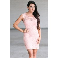 Pink Lace Sheath Dress, Cute Pink Lace Dress Online