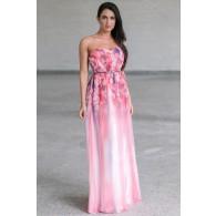 Pink Floral Print Maxi Dress, Watercolor Prom Dress