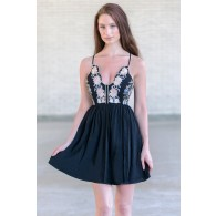 Black Embroidered Sundress, Cute Summer Dress Online