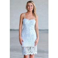 Sky blue lace pencil dress, blue cocktail party dress