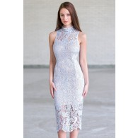 Pale sky blue lace midi Dress, Cute Lace Cocktail Dress