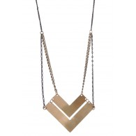 Gold Chevron Necklace, Cute Boho Jewelry