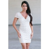 Beige Capsleeve Dress, Cute Beige Sheath Dress