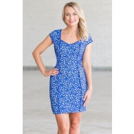 Lace Get Together Capsleeve Pencil Dress in Blue