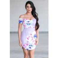 Luscious Lilac Capsleeve Floral Print Dress