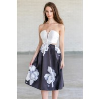Rose Romance Black and Ivory Cutout Midi Dress