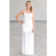 Angel Hippie Ivory Flutter Top Maxi Dress