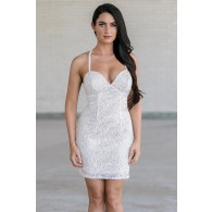 Glistening Snow Ivory Sequin Embellished Party Dress