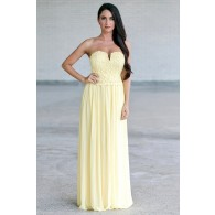 String of Flowers Crochet Lace Yellow Maxi Dress