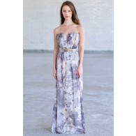 Overcast Floral Print Chiffon Belted Designer Maxi Dress