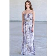 Overcast Floral Print Chiffon Belted Designer Maxi Dress