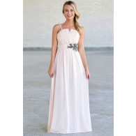 Gunmetal and Roses Strapless Maxi Dress in Blush