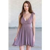 Rosette Shoulder Dress in Lavender Grey