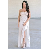 Textured Rosette and Sequin Chiffon Dress in Beige