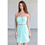 Mint To Be Belted Lace Dress