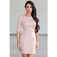 Gold Stud Embellished Sheath Dress in Pink