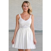 Cream Flourish Waistband Designer Dress