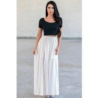 Cream Beige Boho Maxi Skirt, Hippie Peasant Skirt