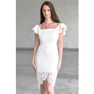 Off White Off Shoulder Dress, Cute Rehearsal Dinner Dress