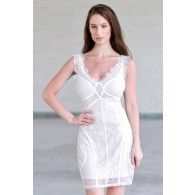 Off White Lace Bodycon Dress, Cute Off White Lace Cocktail Dress