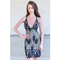 Black and Nude Lace Bodycon Dress, Sexy Little Black Cocktail Dress