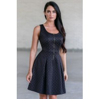 Black Zip Front A-Line Dress, Cute little Black Dress