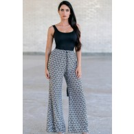 Black and White Printed Palazzo Pants, Cute Comfy Casual Pants