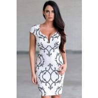 Black and White Fleur de Lis Pencil Dress, Cute White Printed Dress